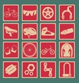 Bicycle icon set basic style vector