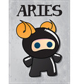 Zodiac sign aries with cute ninja character vector