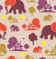 Seamless elefant village vector