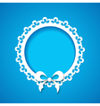 Blue background with a lacy frame vector