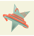 Green retro paper star with red strip - ribbon vector