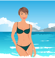 Pretty girl on summer background - vector