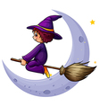 A broomstick with a witch near the moon vector