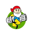 Dwarf with a television remote control sign vector
