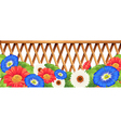 Colourfl flowers near the wooden fence vector
