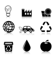 Ecology icons set with reflection vector