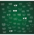 Set of emotions cartoon on green board vector