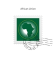 African union flag postage stamp vector