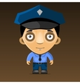 Cartoon police officer on dark background vector