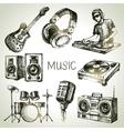 Sketch music set hand drawn of dj icons vector