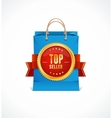 Paper bag and gold label top seller vector