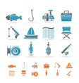 Fishing and holiday icons vector