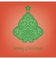 Stylized fir on a red background vector