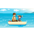 A father and a son fishing vector