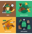 Hunting flat set vector