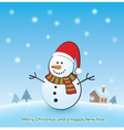 Merry christmas background with snowman vector