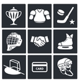 Hockey icon set vector