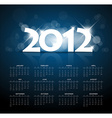 Blue calendar for the new year 2012 with back vector