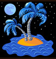 Two palm trees on an island in the ocean at vector