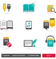 Collection of e-book audiobook and literature vector