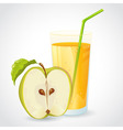 A glass of fresh apple juice and green apple vector