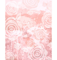 Grunge pink background with decorative roses vector
