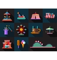 Set of flat design amusement park icons vector