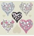Doodle hearts vector