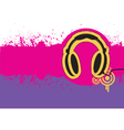 Headphone on grunge background for text vector