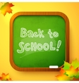Chalk back to school sign on green school board vector