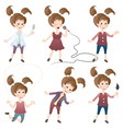 Collection of girls in various poses vector