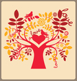 Love autumn tree and red doves vector