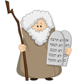 Moses holding the ten commandments vector
