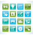 Sports gear and tools icons vector