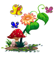 Colourful butterflies surrounding the plants vector