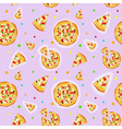 Seamless colorful cartoon pizza texture vector