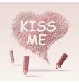 Colored pencils text kiss me vector