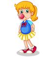 A little girl eating bubblegum vector