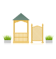Gazebo with wooden lattice and grass vector
