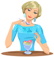 Girl eats ice cream vector