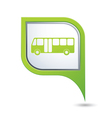 Bus icon on green map pointer vector