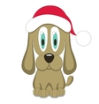 Dog in red christmas hat vector