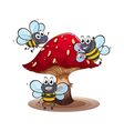 A big mushroom with smiling bees vector