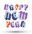 Happy new year card with phrase made with 3d retro vector