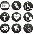 Collection of medical themed icons  black white vector