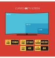 Curved 8k screen with set of hd stickers vector