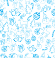 Blue seamless christmas pattern vector