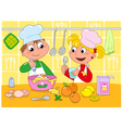 Boy and girl cooking vector