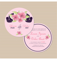 Round floral invitation card vector