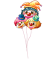 Three clown balloons vector